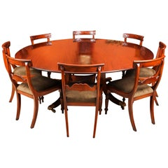 Vintage Round Table and 8 Bespoke Chairs William Tillman, 20th Century