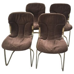Mid-Century Modern Italian Set of Cidue Gilt Metal Chairs by Willy Rizzo, 1970s