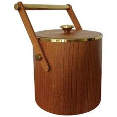 Italian Teak and Brass Ice Bucket, 1960s