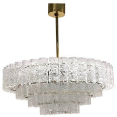 Large Four-Tier Glass Tube Chandelier by Doria Leuchten, Germany, 1960s
