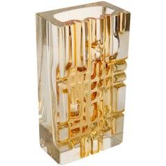 Heavy Bohemian Vase of Honey Colored Glass, Moser Glassworks, 1950s