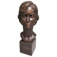 20th Century Bronze Head of a Young Lady, with Monogram ZJ