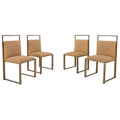 Set of 4 Brass and Chrome Dining Room Chairs by Cittone Oggi