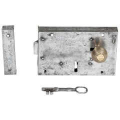 Large Georgian Steel Rim Lock with Brass Beehive Handle