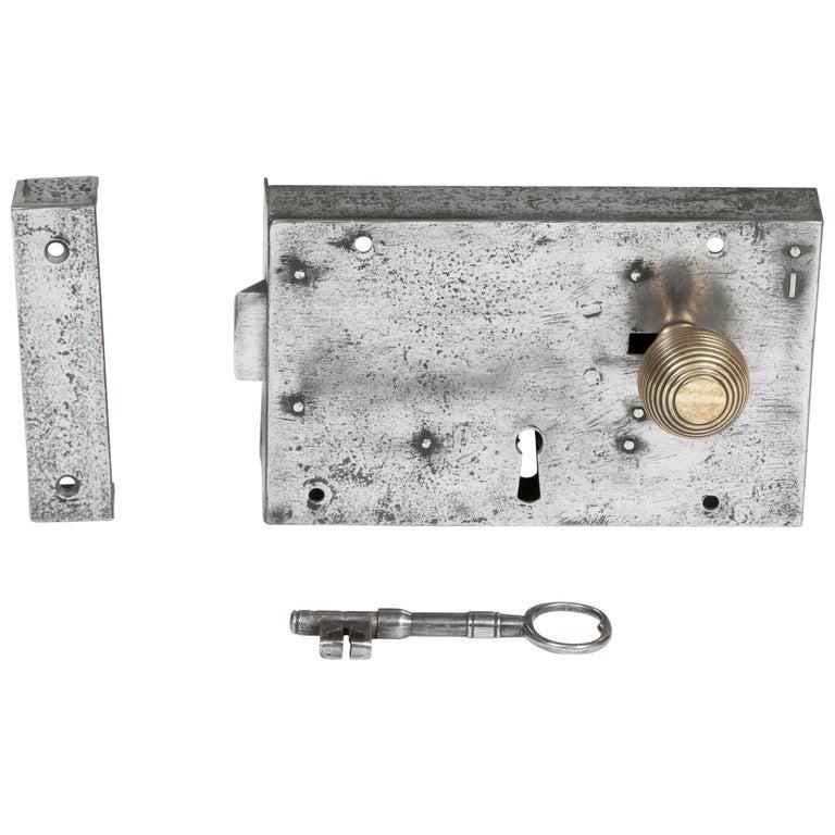 Large Georgian Steel Rim Lock with Brass Beehive Handle For Sale