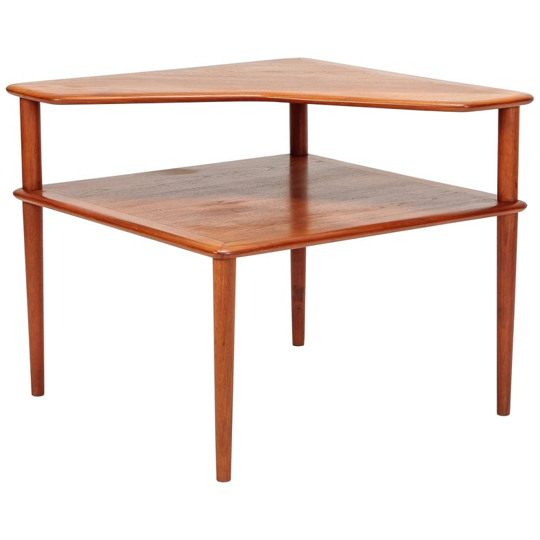 Peter Hvidt Minerva Corner Table France and Son Teak, 1960s For Sale