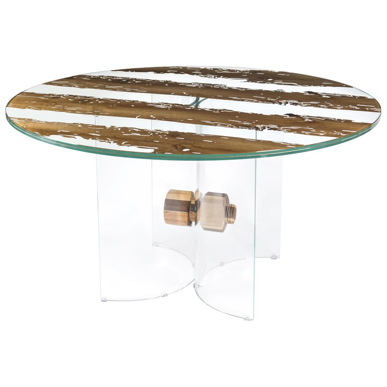 Table Round Venezia, in Glass and Venetian Briccola, Italy For Sale