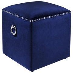 Deep Blue Stool with Blue Velvet Fabric