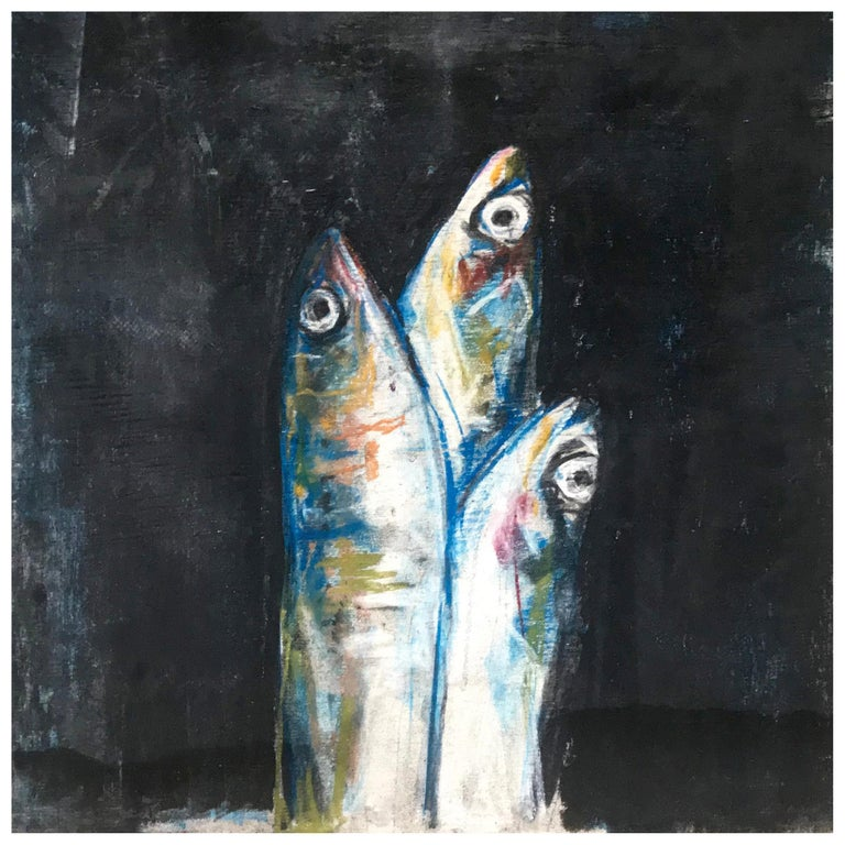 Sardine Colazione Fish Painting For Sale
