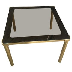 Mid-Century Modern Italian Smoked Glass Top Gilt Metal Dining or Center Table