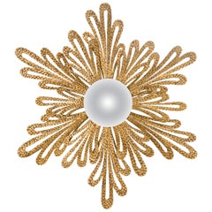 Gold Flower Mirror in Solid Wood with Antique Gold Paint