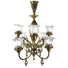Eight-Arm Brass Gas/Electric Chandelier