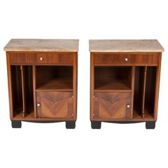 Art Deco Bedside Cabinets with Onyx Tops