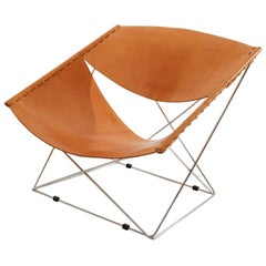 Pierre Paulin Artifort Butterfly Lounge Chair in Natural Leather and Chrome