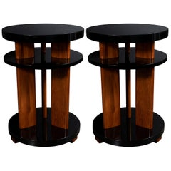 Pair of Art Deco Machine Age Lacquer & Walnut Three Tier Side/ Occasional Tables