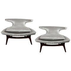 "Mid-Century Modern ""Horn"" Chairs in Walnut and Velvet by Karpen of California"