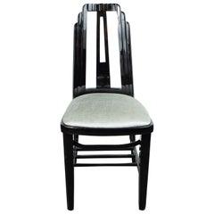 Art Deco Machine Age Black Lacquer Skyscraper Style Occasional or Desk Chair