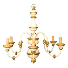 Gold and White Painted Italian Wood Chandelier