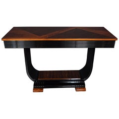 Art Deco Streamlined Black Lacquer, Bookmatched Walnut & Rosewood Console Table