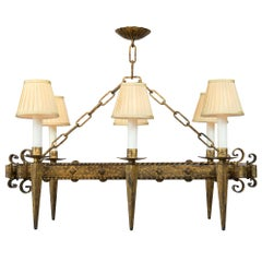 French Renaissance Style 19th Century Gilt Iron Six-Arm Chandelier