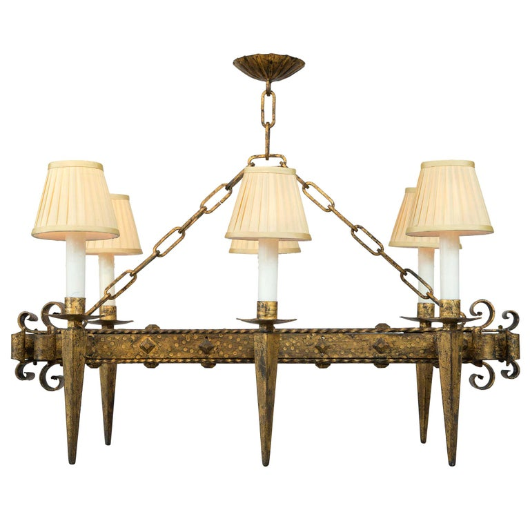 French Renaissance Style 19th Century Gilt Iron Six-Arm Chandelier For Sale