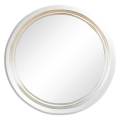 Art Deco Revival Beveled Circular Mirror with Acid Etched Frosted Banding