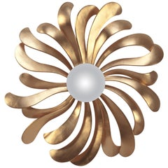 Petals Mirror in Solid Wood with Antique Gold Paint