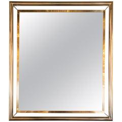 Midcentury Rectangular Polished Brass and Tubular Chrome Wall Floating Mirror