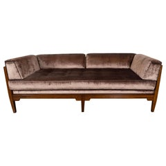 Mid-Century Modern Hand Rubbed Walnut Day Bed/ Sofa in Smoked Bronze Velvet