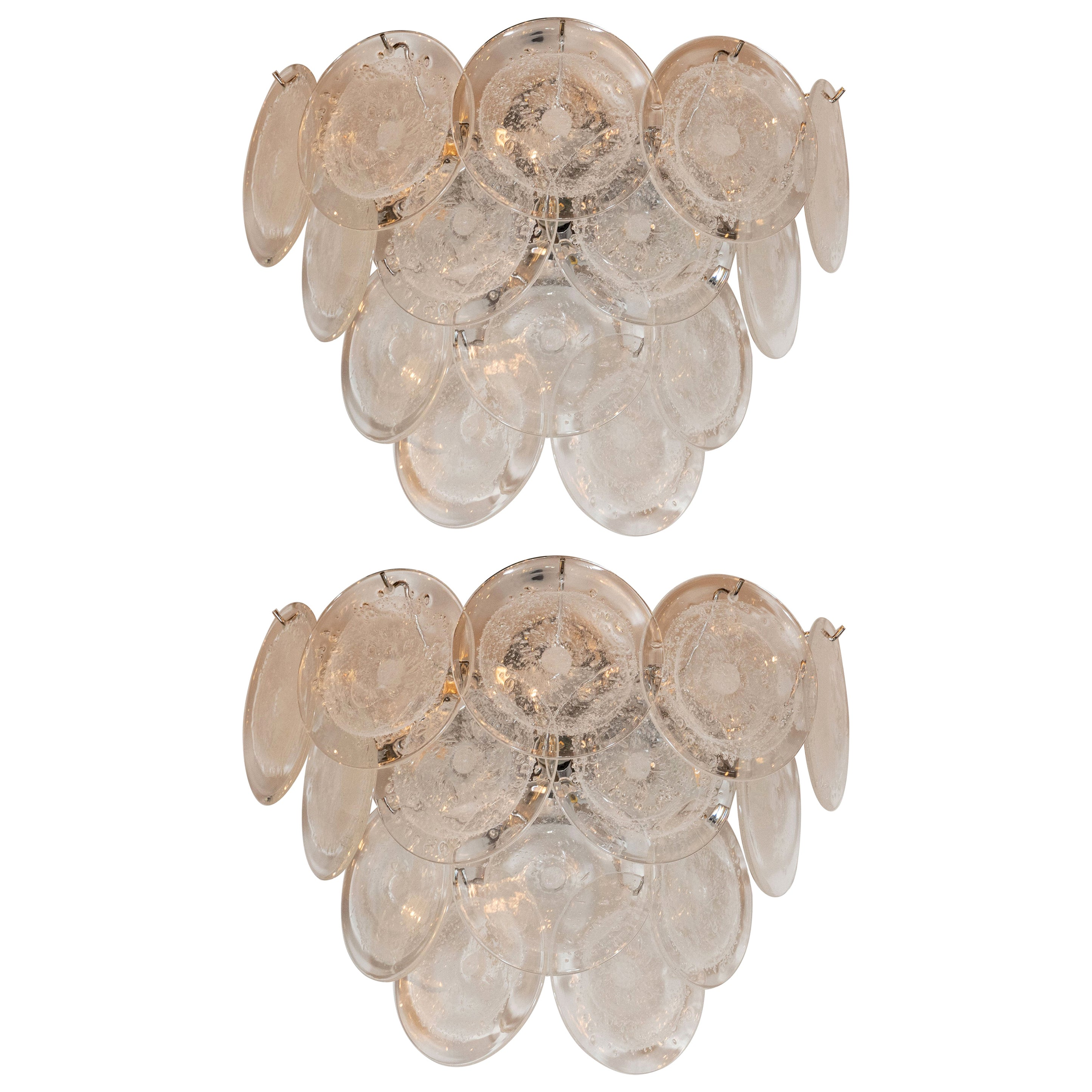 Pair of Modernist 14-Disc Sconces in Handblown Murano Clear Glass