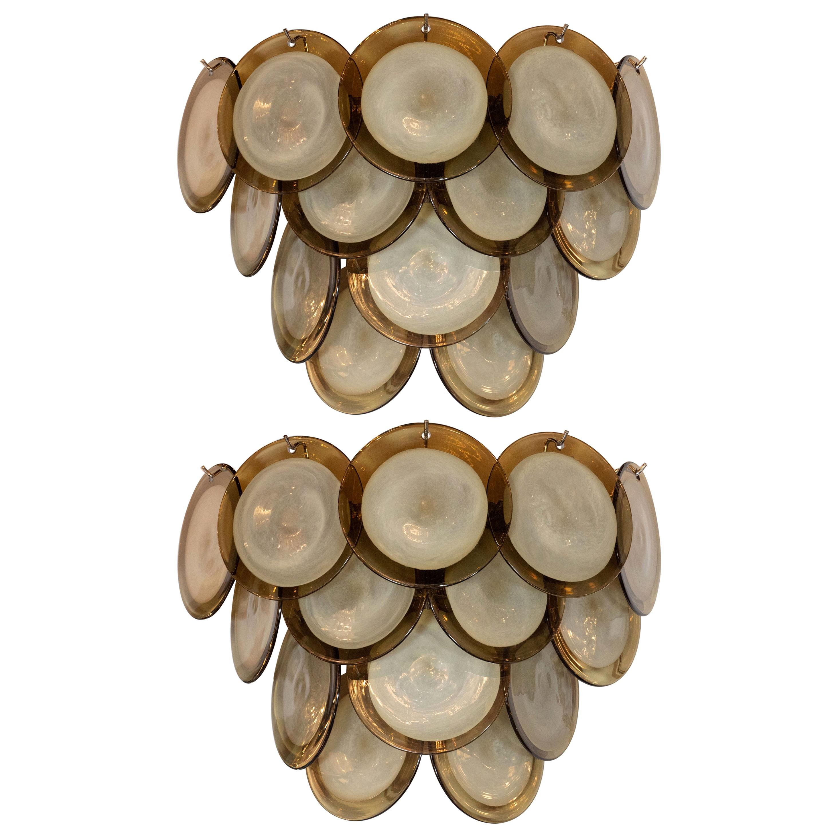 Pair of Modernist 14-Disc Sconces in Handblown Murano Topaz & Translucent Glass