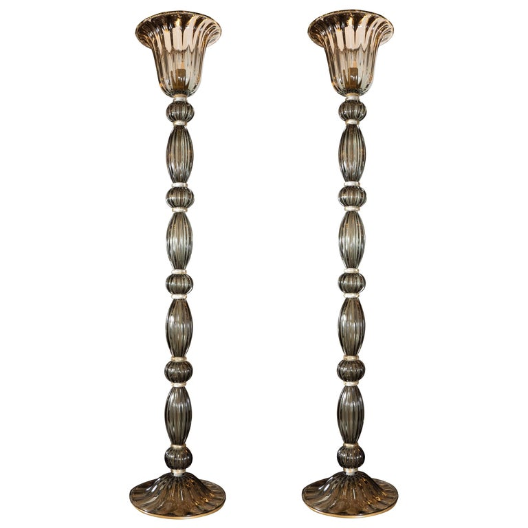 Pair of Modernist Torchieres in Smoked Handblown Murano Glass For Sale