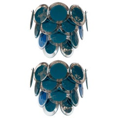 Modernist 14-Disc Sconces in Handblown Murano Turquoise & Translucent Glass