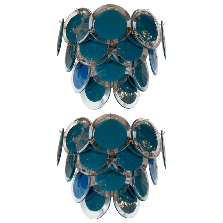 Modernist 14-Disc Sconces in Handblown Murano Turquoise & Translucent Glass For Sale