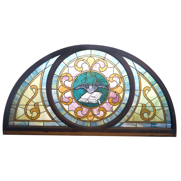 Arched Stained Glass with Painted Dove and Bible For Sale