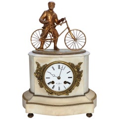 19th Century French Marble and Bronze Antique Bicycle Novelty Clock