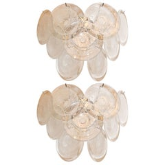 Pair of Modernist 9-Disc Hand Blown Murano Clear and Translucent Glass Sconces