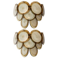 Pair of Modernist 9-Disc Hand Blown Murano Topaz & Translucent Glass Sconces