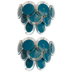 Pair of Modernist 9-Disc Hand Blown Murano Turquoise & Translucent Glass Sconces