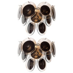 Pair of Modernist 9-Disc Sconces in Hand Blown Murano Black & Translucent Glass