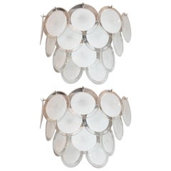 Pair of Modernist 14-Disc Sconces in Hand Blown Murano White & Translucent Glass