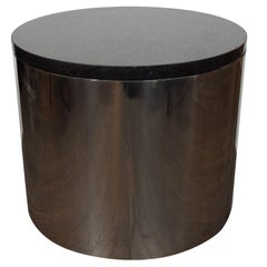 Mid-Century Modern Cylindrical Drum Form Chrome and Granite Occasional Table