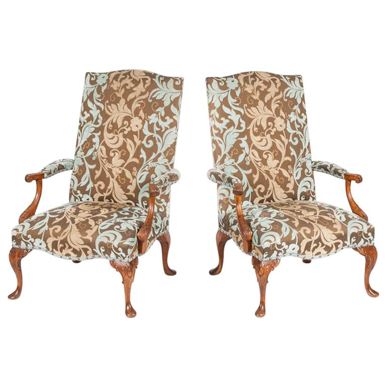 Pair of Carved Beech High Back Open Armchairs with Cabriole Legs and Pad Feet For Sale