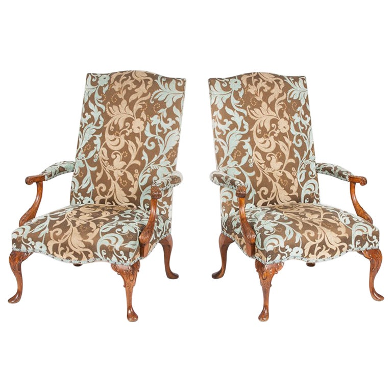 Pair of Carved Beech High Back Open Armchairs with Cabriole Legs and Pad Feet