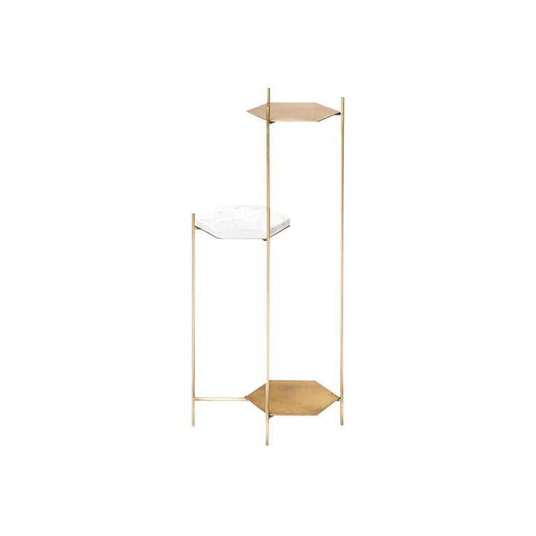"""""""Bee"""" Minimalist Geometric Side Table in Brass and Marble by Ries For Sale"""