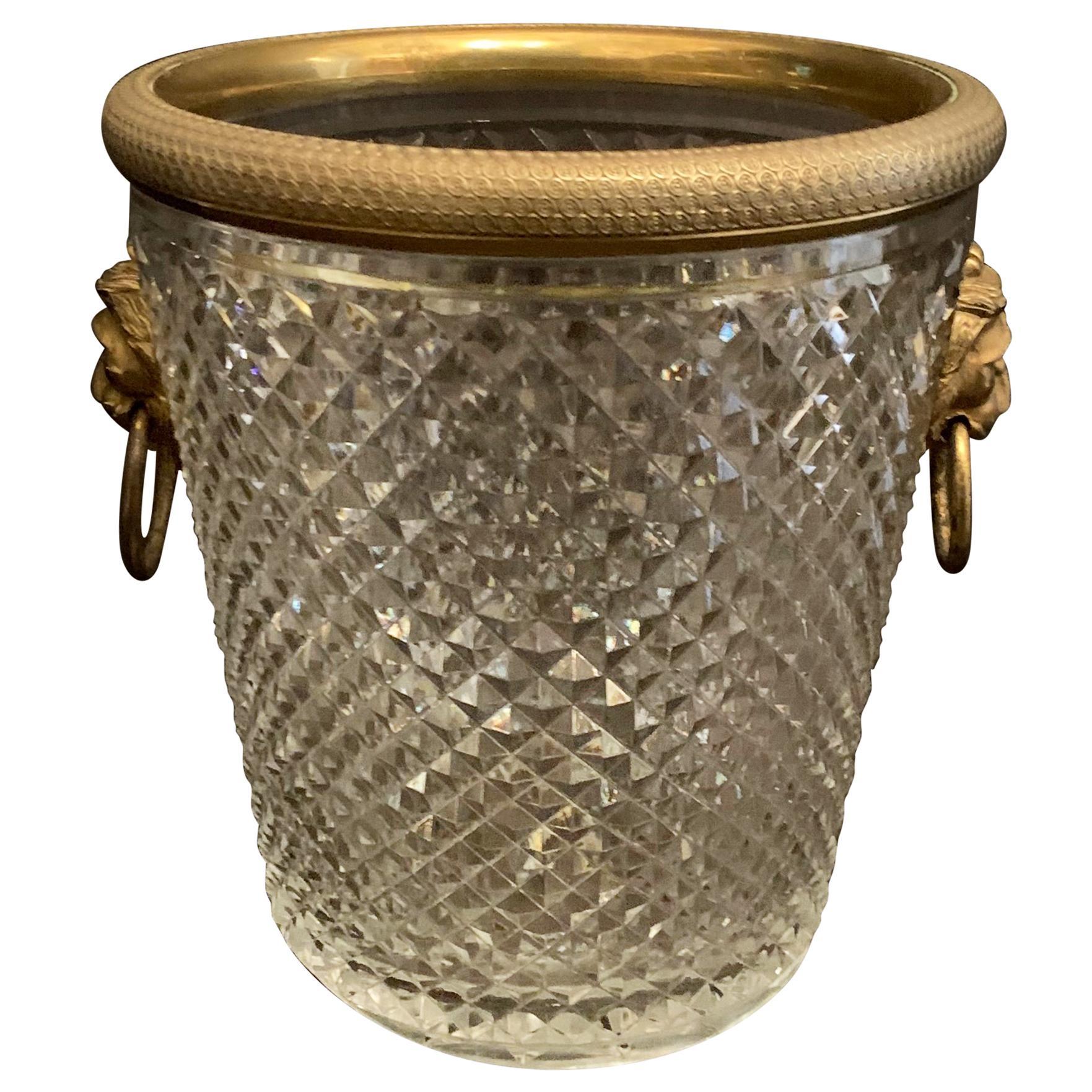 Elegant French Baccarat Lion Handle Dore Bronze Cut Crystal Ormolu Ice Bucket