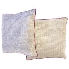 Soft Velvet Throw Pillows with Fuchsia Piping