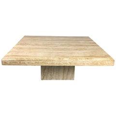 Travertine Square Midcentury Italian Pedestal Coffee Table