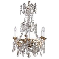 6-Light Crystal and Ormolu Chandelier