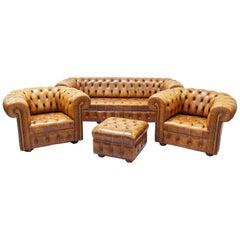 Chesterfield Sofa Set Sessel Ohrensessel Couch antiker Hocker
